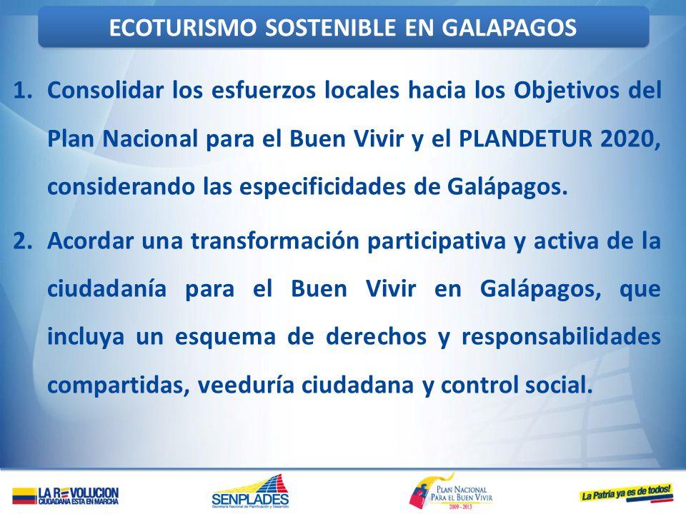 1.Consolidar los esfuerzos locales hacia los Objetivos del Plan Nacional para el Buen Vivir y el PLANDETUR 2020, considerando las especificidades de G