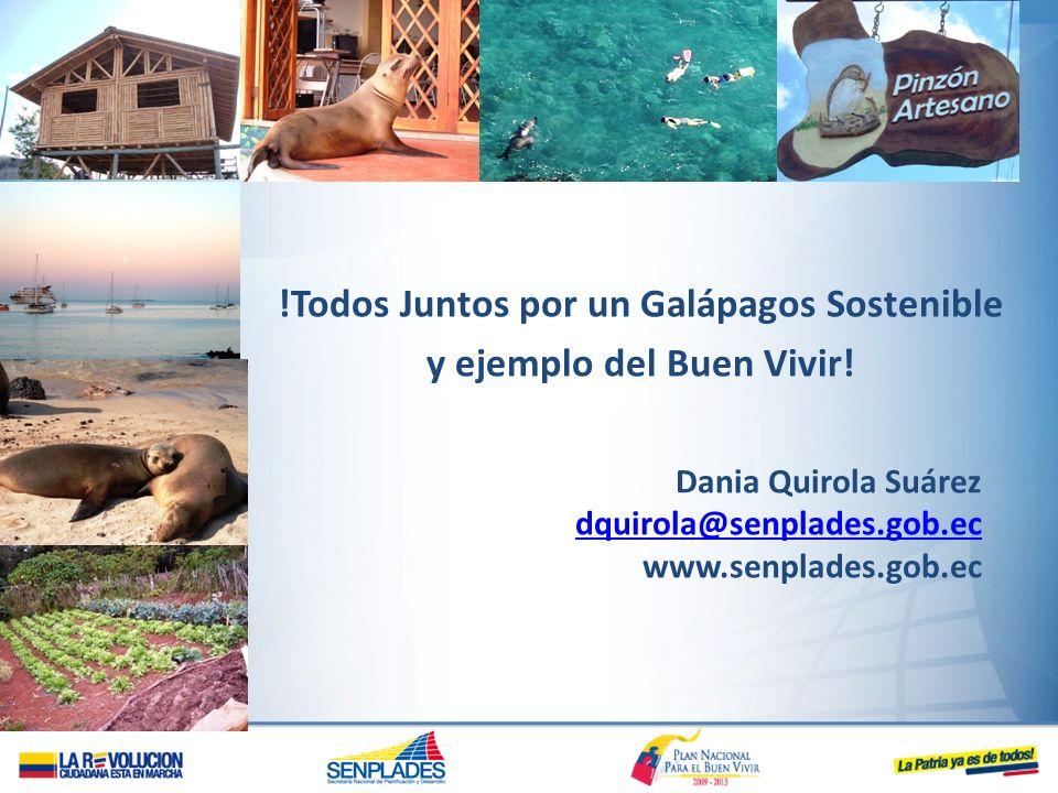 !Todos Juntos por un Galápagos Sostenible y ejemplo del Buen Vivir! Dania Quirola Suárez dquirola@senplades.gob.ec www.senplades.gob.ec
