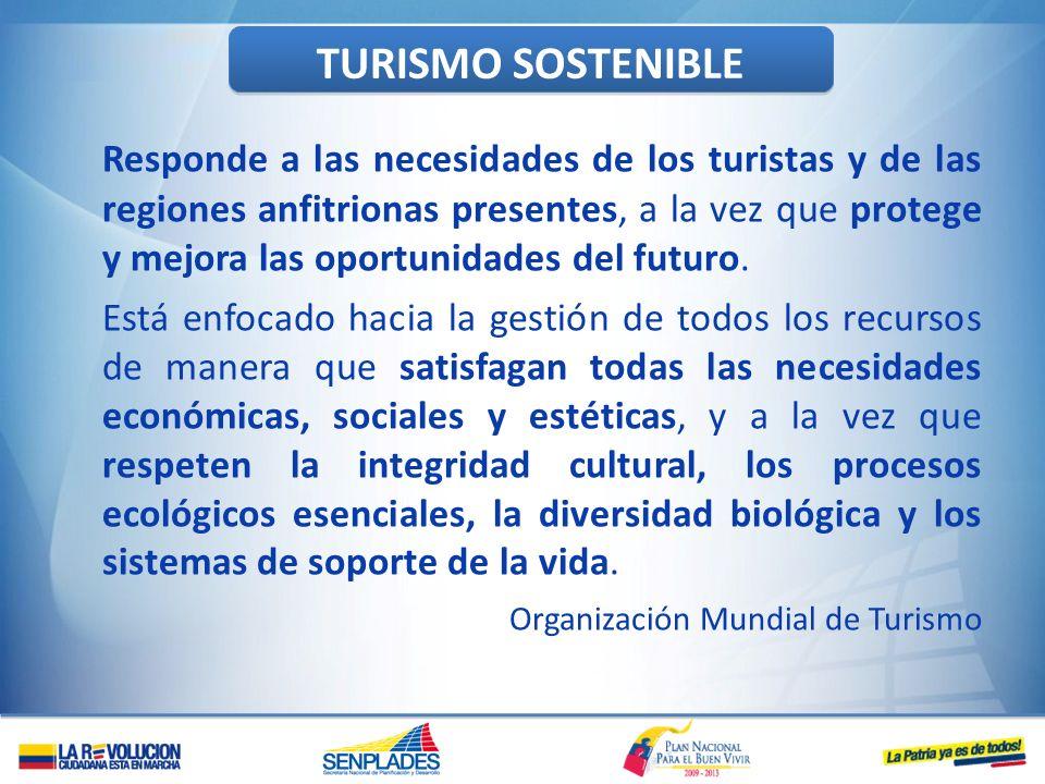 TURISMO SOSTENIBLE Responde a las necesidades de los turistas y de las regiones anfitrionas presentes, a la vez que protege y mejora las oportunidades