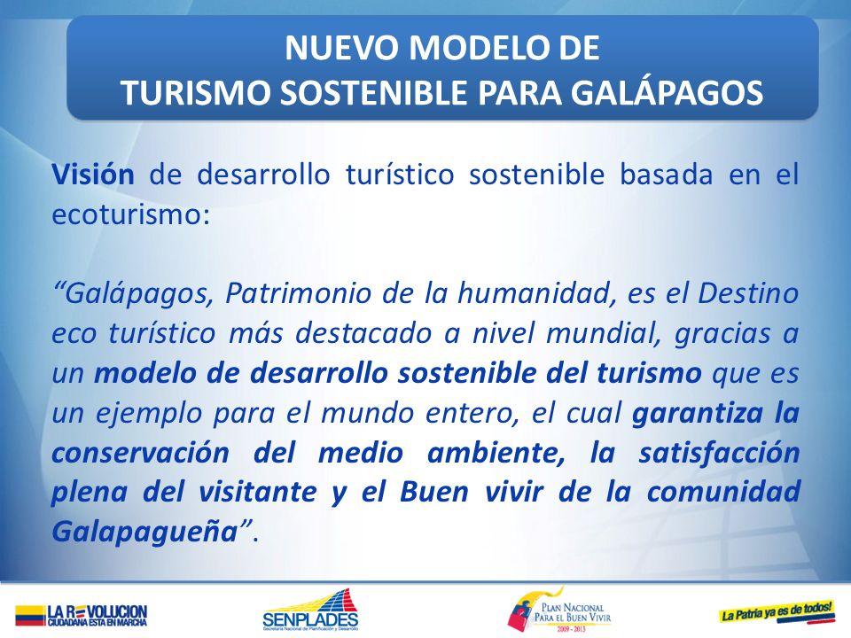 NUEVO MODELO DE TURISMO SOSTENIBLE PARA GALÁPAGOS NUEVO MODELO DE TURISMO SOSTENIBLE PARA GALÁPAGOS Visión de desarrollo turístico sostenible basada e