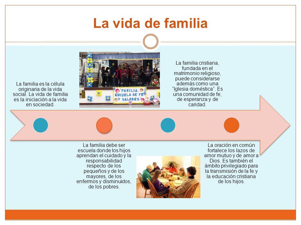 La vida de familia La familia es la célula originaria de la vida social.