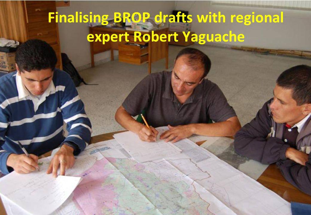 Finalising BROP drafts with regional expert Robert Yaguache