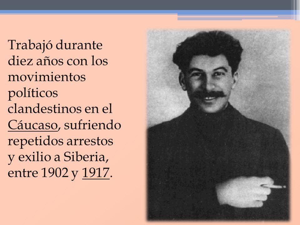 Trabajó durante diez años con los movimientos políticos clandestinos en el Cáucaso, sufriendo repetidos arrestos y exilio a Siberia, entre 1902 y 1917