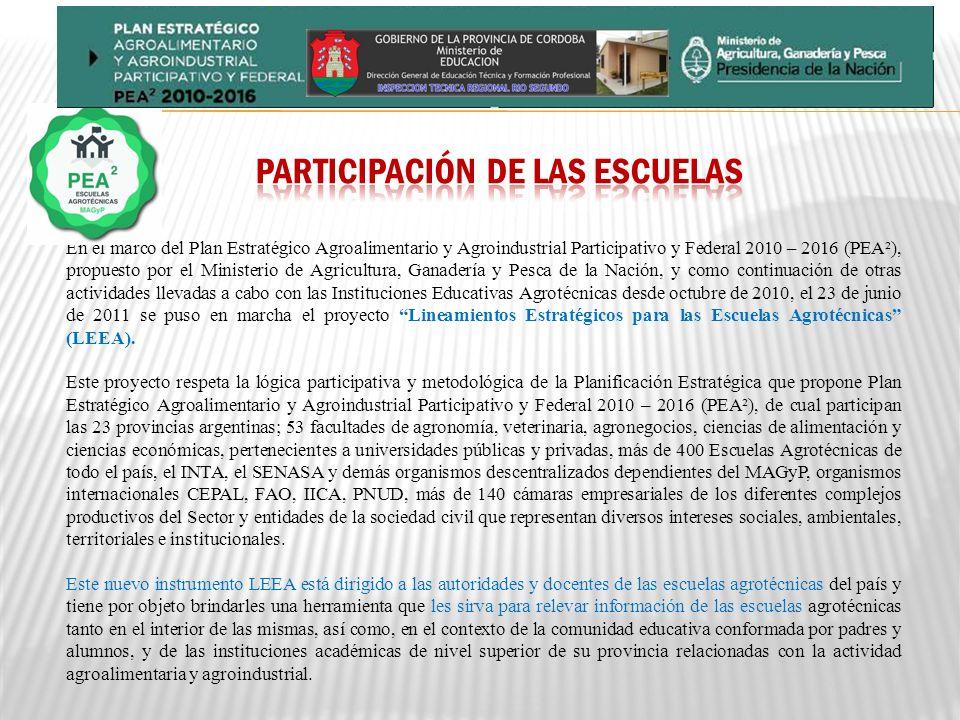 En el marco del Plan Estratégico Agroalimentario y Agroindustrial Participativo y Federal 2010 – 2016 (PEA²), propuesto por el Ministerio de Agricultura, Ganadería y Pesca de la Nación, y como continuación de otras actividades llevadas a cabo con las Instituciones Educativas Agrotécnicas desde octubre de 2010, el 23 de junio de 2011 se puso en marcha el proyecto Lineamientos Estratégicos para las Escuelas Agrotécnicas (LEEA).