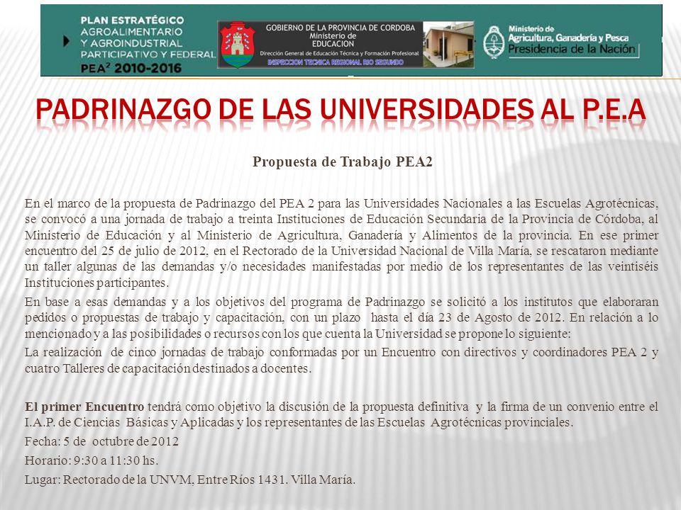 Propuesta de Trabajo PEA2 En el marco de la propuesta de Padrinazgo del PEA 2 para las Universidades Nacionales a las Escuelas Agrotécnicas, se convocó a una jornada de trabajo a treinta Instituciones de Educación Secundaria de la Provincia de Córdoba, al Ministerio de Educación y al Ministerio de Agricultura, Ganadería y Alimentos de la provincia.