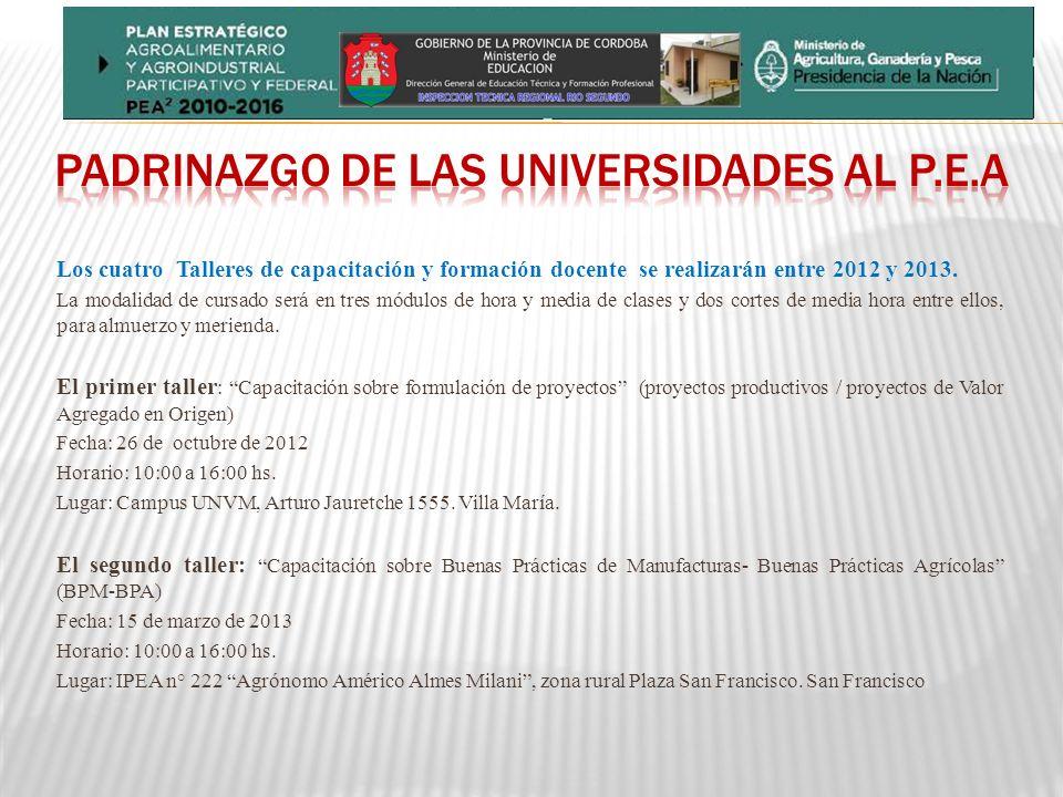 Los cuatro Talleres de capacitación y formación docente se realizarán entre 2012 y 2013.