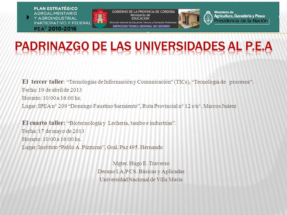 El tercer taller : Tecnologías de Información y Comunicación (TICs), Tecnología de procesos.
