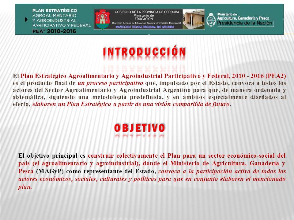 El Plan Estratégico Agroalimentario y Agroindustrial Participativo y Federal, 2010 - 2016 (PEA2) es el producto final de un proceso participativo que, impulsado por el Estado, convoca a todos los actores del Sector Agroalimentario y Agroindustrial Argentino para que, de manera ordenada y sistemática, siguiendo una metodología predefinida, y en ámbitos especialmente diseñados al efecto, elaboren un Plan Estratégico a partir de una visión compartida de futuro.