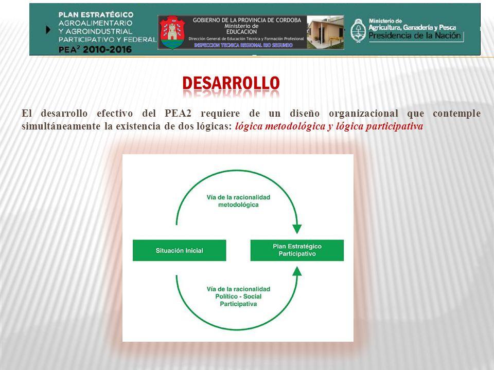 El desarrollo efectivo del PEA2 requiere de un diseño organizacional que contemple simultáneamente la existencia de dos lógicas: lógica metodológica y lógica participativa