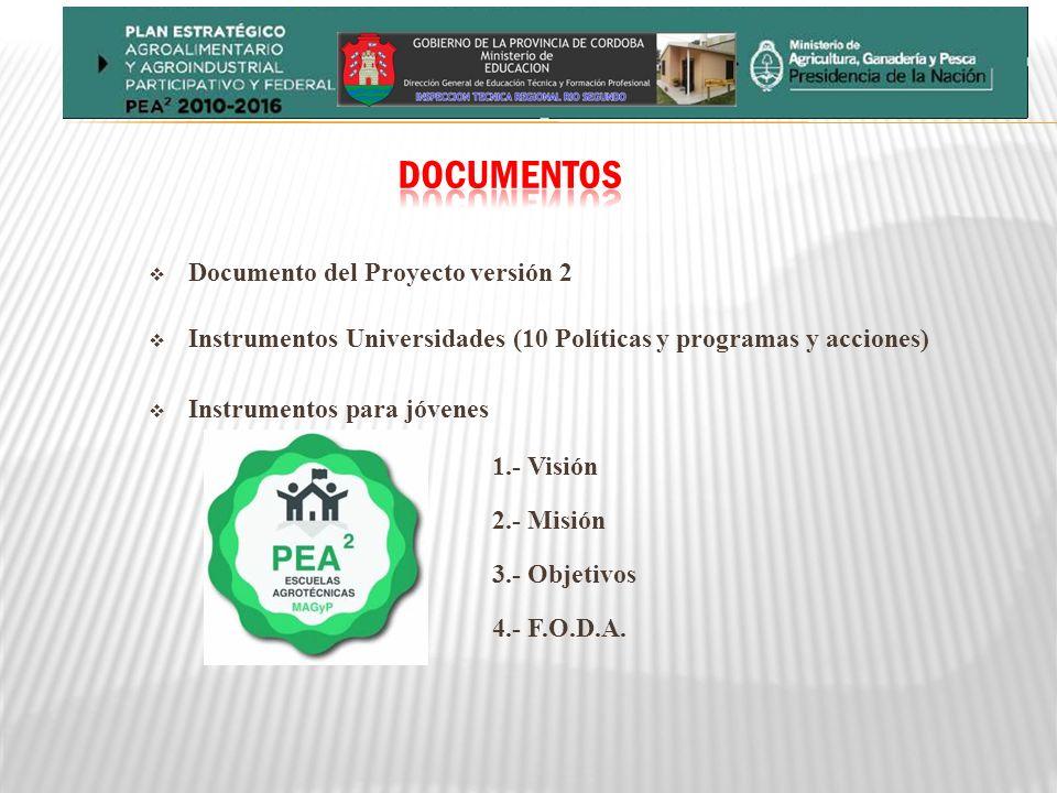 Documento del Proyecto versión 2 Instrumentos Universidades (10 Políticas y programas y acciones) Instrumentos para jóvenes 1.- Visión 2.- Misión 3.- Objetivos 4.- F.O.D.A.
