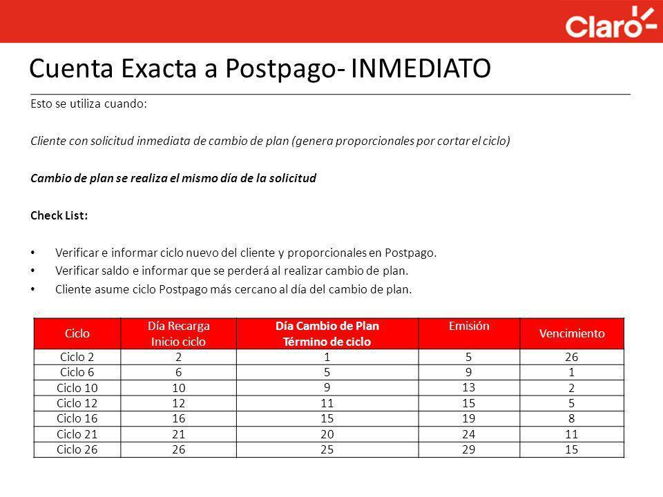 Cuenta Exacta a Postpago- INMEDIATO Esto se utiliza cuando: Cliente con solicitud inmediata de cambio de plan (genera proporcionales por cortar el cic