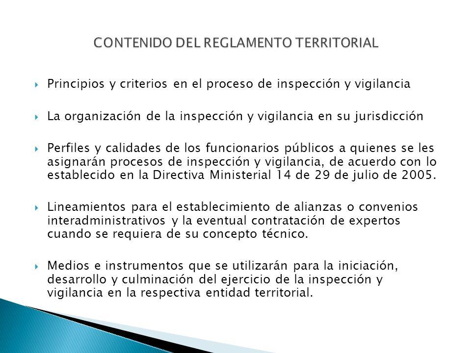 Principios y criterios en el proceso de inspección y vigilancia La organización de la inspección y vigilancia en su jurisdicción Perfiles y calidades de los funcionarios públicos a quienes se les asignarán procesos de inspección y vigilancia, de acuerdo con lo establecido en la Directiva Ministerial 14 de 29 de julio de 2005.