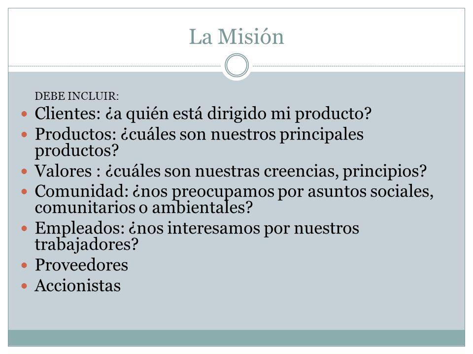 La Misión DEBE INCLUIR: Clientes: ¿a quién está dirigido mi producto? Productos: ¿cuáles son nuestros principales productos? Valores : ¿cuáles son nue