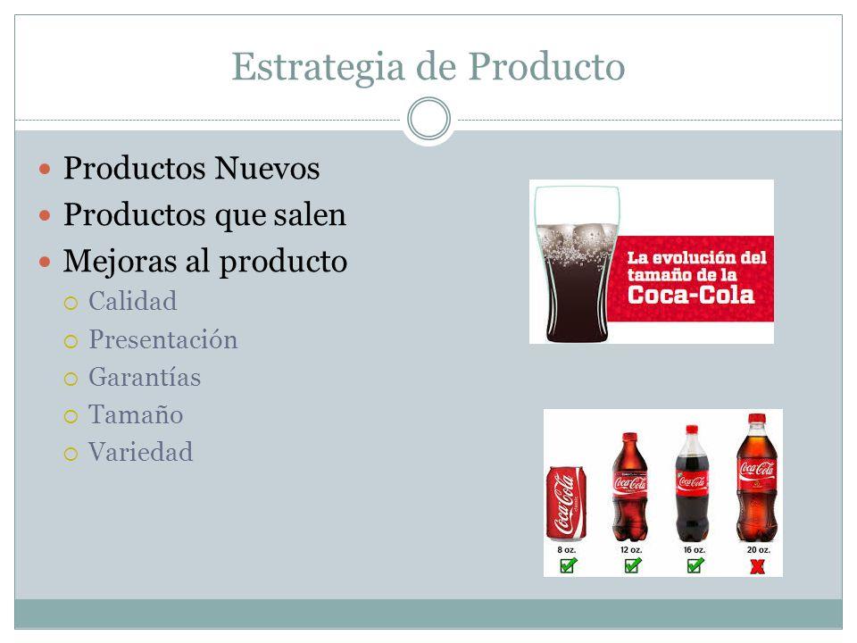 Estrategia de Producto Productos Nuevos Productos que salen Mejoras al producto Calidad Presentación Garantías Tamaño Variedad