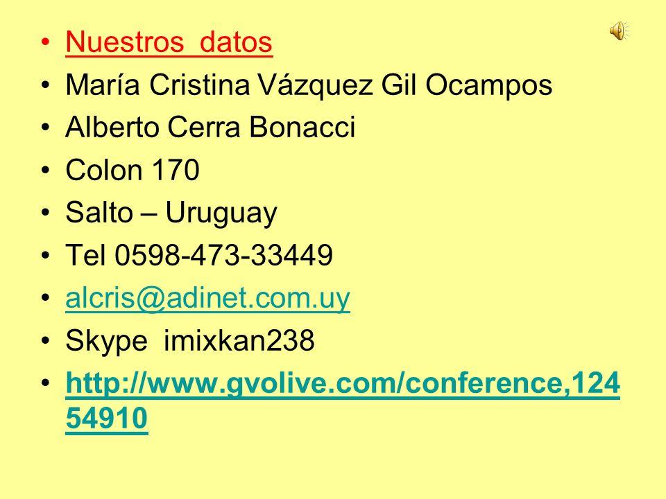 Nuestros datos María Cristina Vázquez Gil Ocampos Alberto Cerra Bonacci Colon 170 Salto – Uruguay Tel 0598-473-33449 alcris@adinet.com.uy Skype imixka