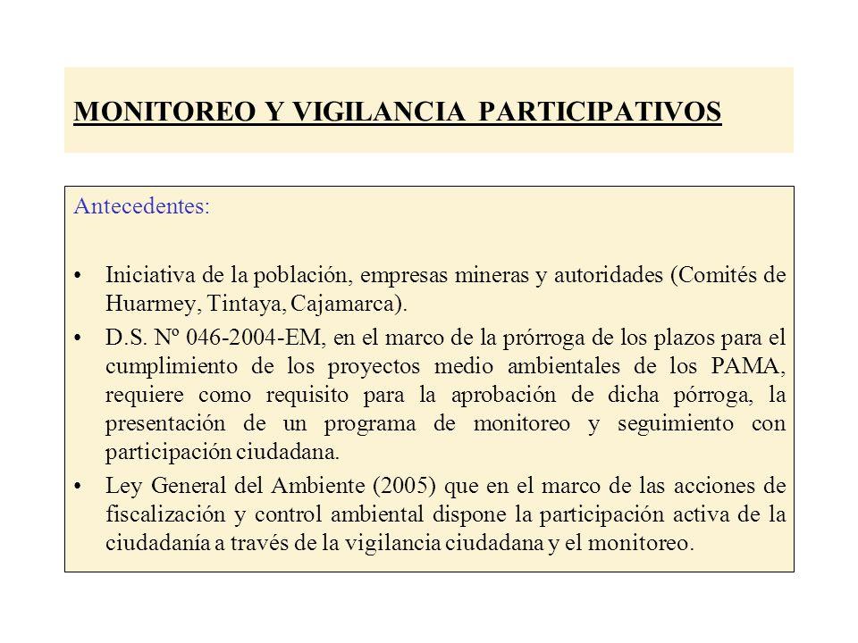 MONITOREO Y VIGILANCIA PARTICIPATIVOS Antecedentes: Iniciativa de la población, empresas mineras y autoridades (Comités de Huarmey, Tintaya, Cajamarca).