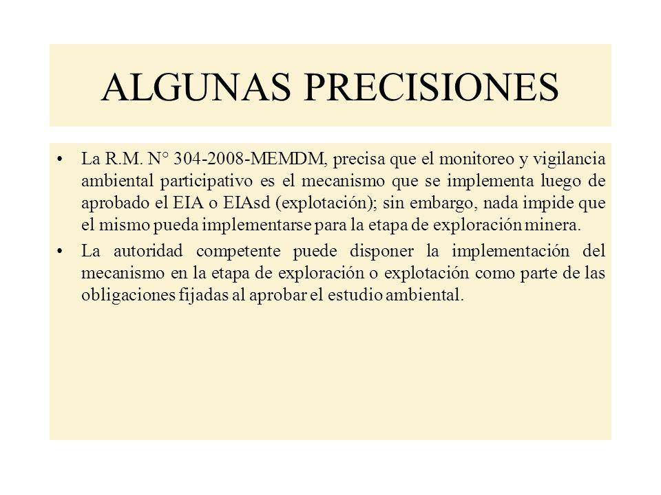 ALGUNAS PRECISIONES La R.M.
