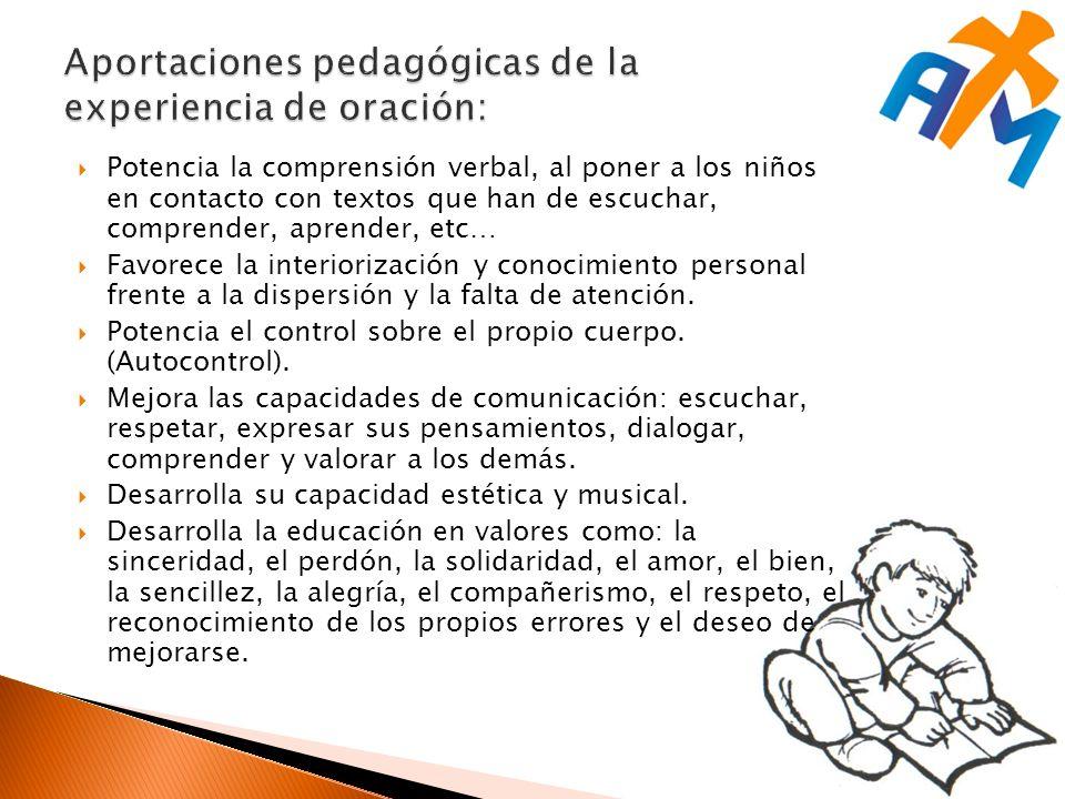 Potencia la comprensión verbal, al poner a los niños en contacto con textos que han de escuchar, comprender, aprender, etc… Favorece la interiorización y conocimiento personal frente a la dispersión y la falta de atención.