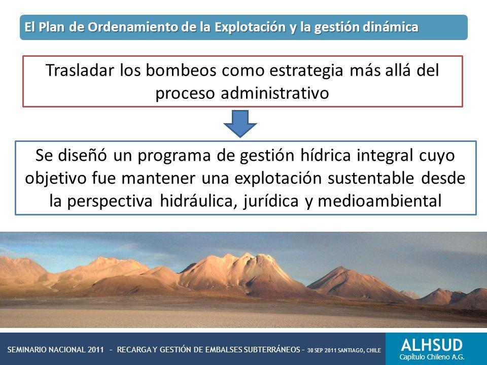 SEMINARIO NACIONAL 2011 – RECARGA Y GESTIÓN DE EMBALSES SUBTERRÁNEOS – 30 SEP 2011 SANTIAGO, CHILE ALHSUD Capítulo Chileno A.G. Trasladar los bombeos