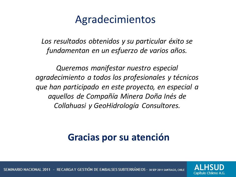 SEMINARIO NACIONAL 2011 – RECARGA Y GESTIÓN DE EMBALSES SUBTERRÁNEOS – 30 SEP 2011 SANTIAGO, CHILE ALHSUD Capítulo Chileno A.G. Agradecimientos Los re