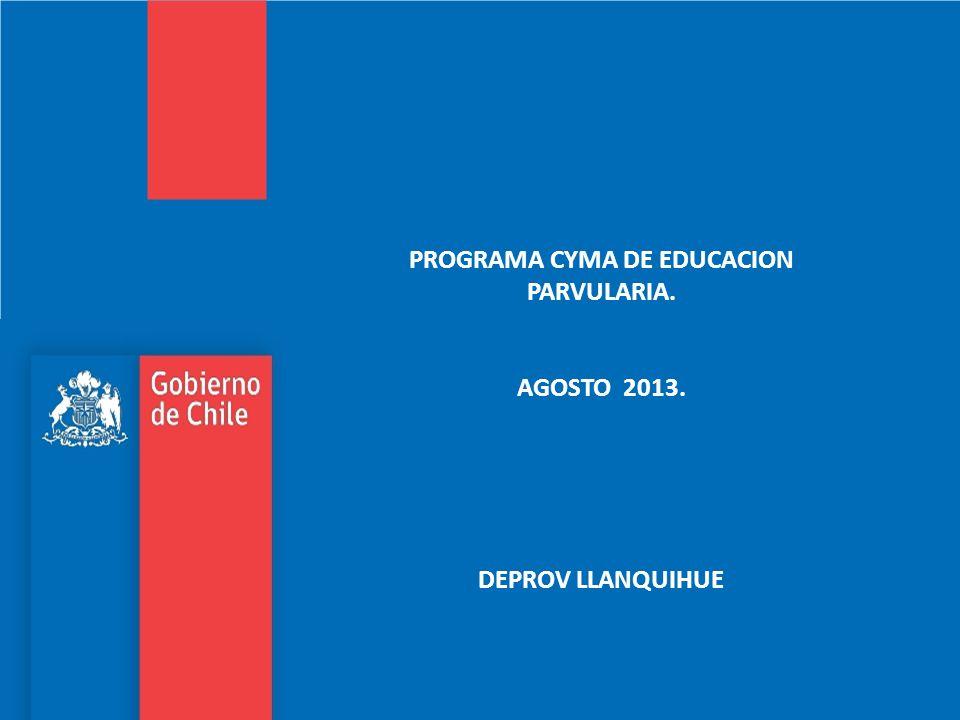 PROGRAMA CYMA DE EDUCACION PARVULARIA. AGOSTO 2013. DEPROV LLANQUIHUE