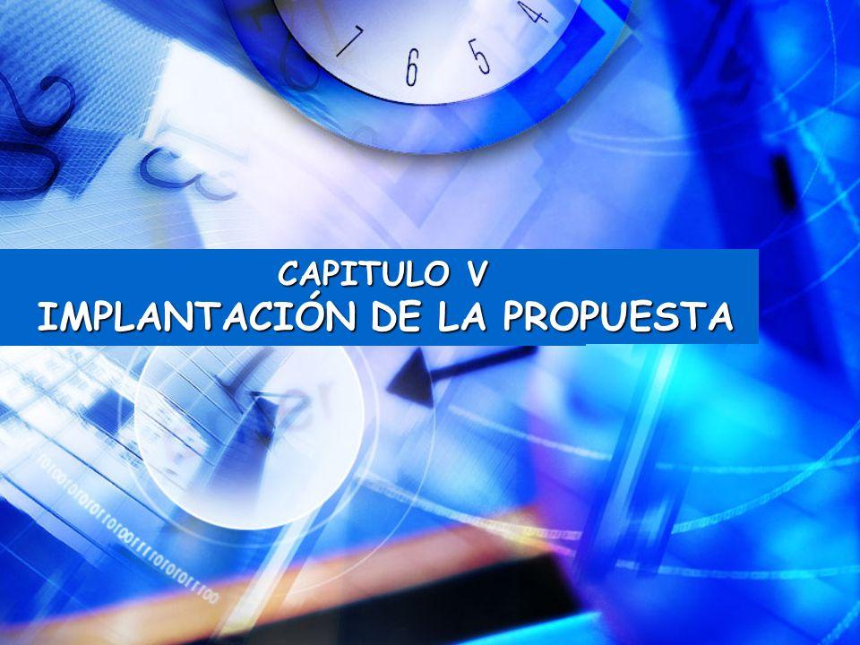 CAPITULO V IMPLANTACIÓN DE LA PROPUESTA IMPLANTACIÓN DE LA PROPUESTA