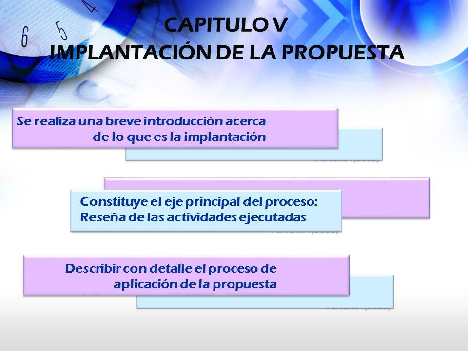 CAPITULO V IMPLANTACIÓN DE LA PROPUESTA Se realiza una breve introducción acerca de lo que es la implantación Constituye el eje principal del proceso: