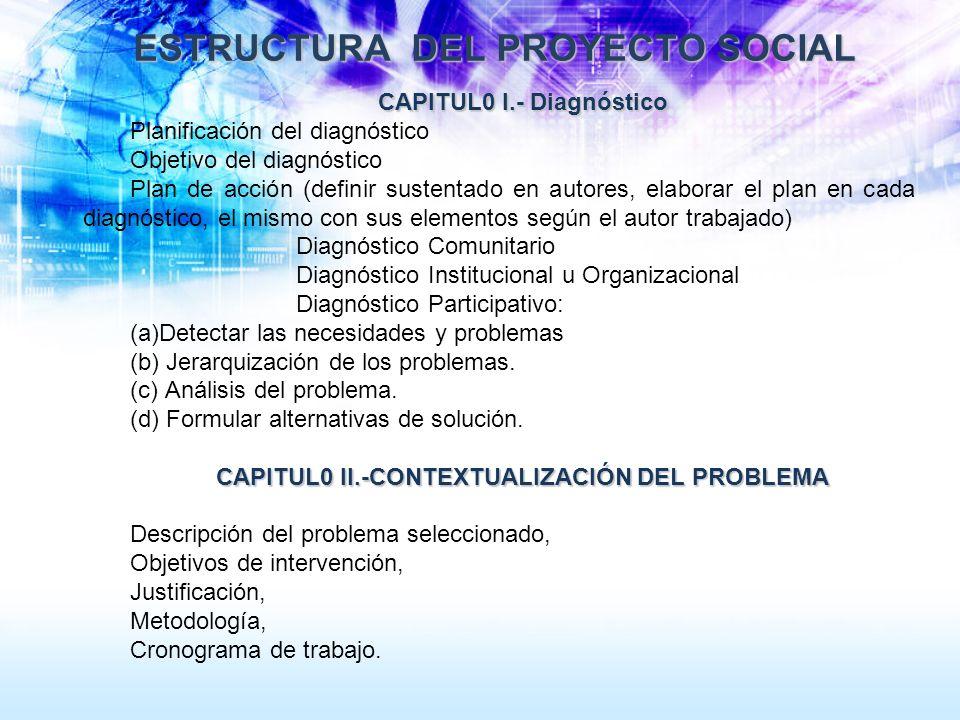 ESTRUCTURA DEL PROYECTO SOCIAL ESTRUCTURA DEL PROYECTO SOCIAL CAPITUL0 I.- Diagnóstico Planificación del diagnóstico Objetivo del diagnóstico Plan de