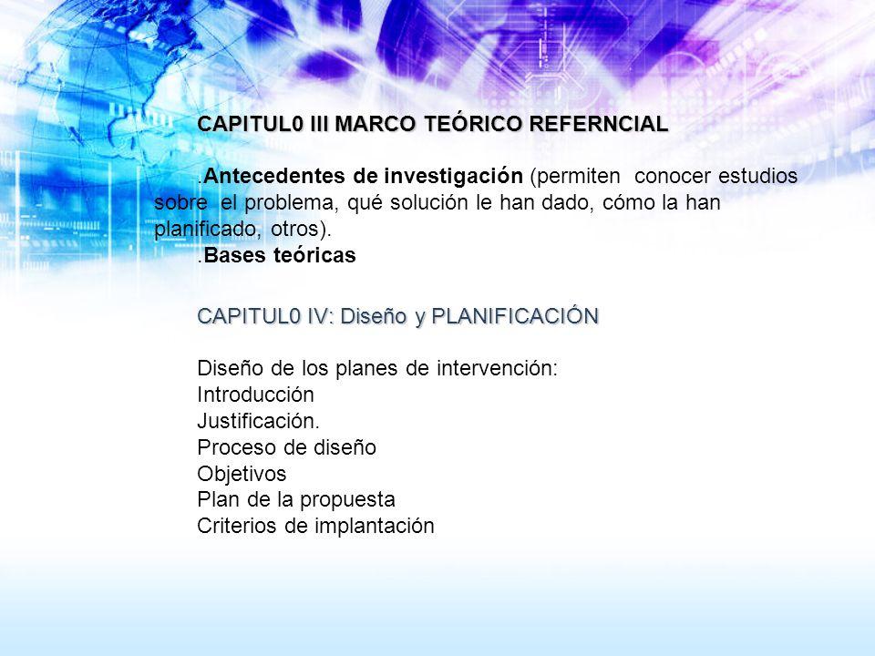 CAPITUL0 III MARCO TEÓRICO REFERNCIAL.Antecedentes de investigación (permiten conocer estudios sobre el problema, qué solución le han dado, cómo la ha