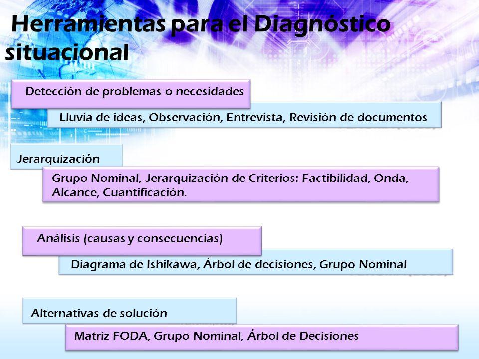 Herramientas para el Diagnóstico situacional Lluvia de ideas, Observación, Entrevista, Revisión de documentos Detección de problemas o necesidades Jer