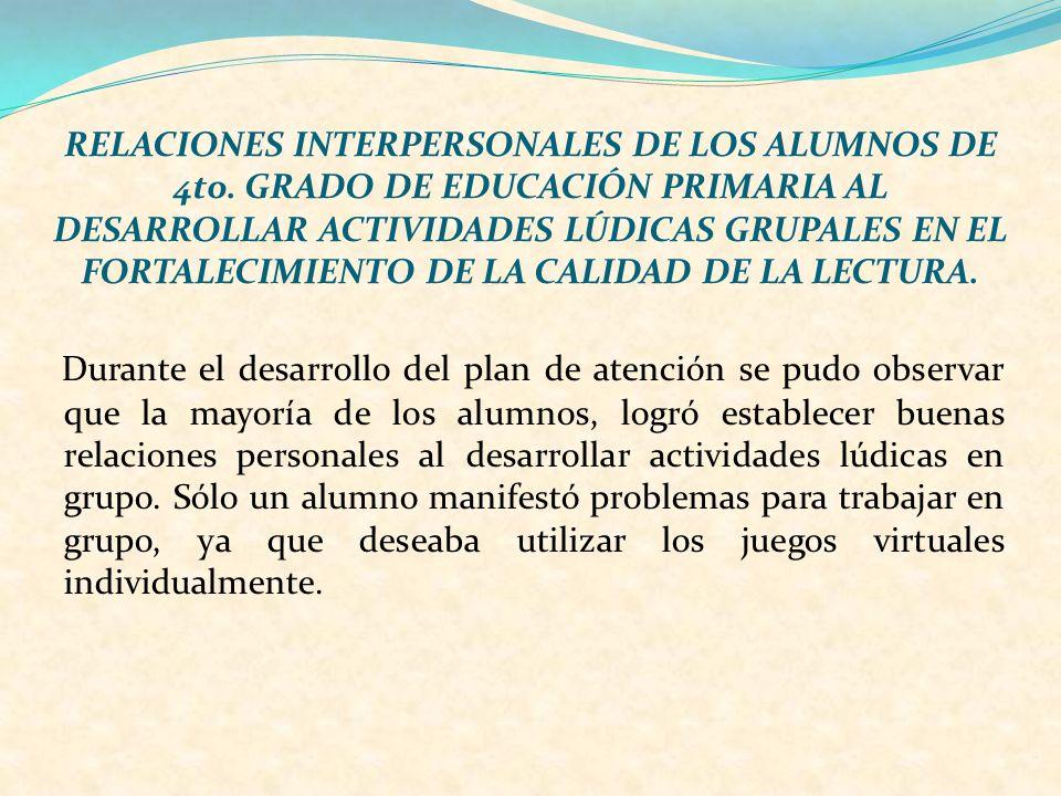 RELACIONES INTERPERSONALES DE LOS ALUMNOS DE 4to. GRADO DE EDUCACIÓN PRIMARIA AL DESARROLLAR ACTIVIDADES LÚDICAS GRUPALES EN EL FORTALECIMIENTO DE LA