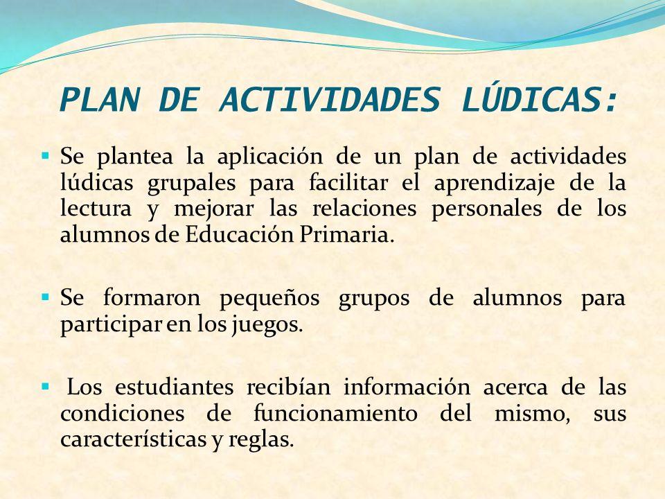 PLAN DE ACTIVIDADES LÚDICAS: Se plantea la aplicación de un plan de actividades lúdicas grupales para facilitar el aprendizaje de la lectura y mejorar