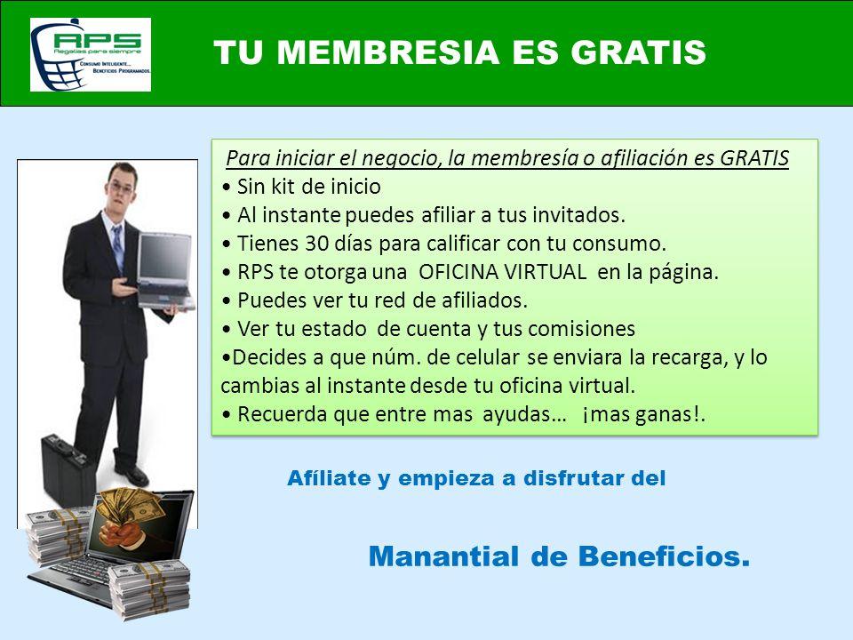 Afíliate y empieza a disfrutar del TU MEMBRESIA ES GRATIS Manantial de Beneficios. Para iniciar el negocio, la membresía o afiliación es GRATIS Sin ki