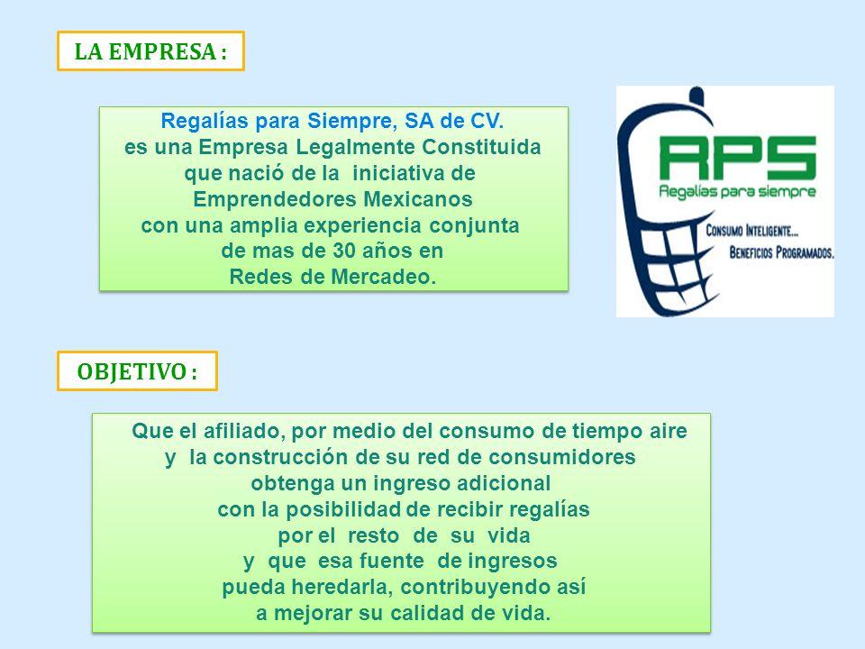 Regalías para Siempre, SA de CV. es una Empresa Legalmente Constituida que nació de la iniciativa de Emprendedores Mexicanos con una amplia experienci