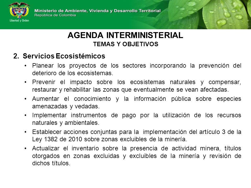 2.Servicios Ecosistémicos Planear los proyectos de los sectores incorporando la prevención del deterioro de los ecosistemas.
