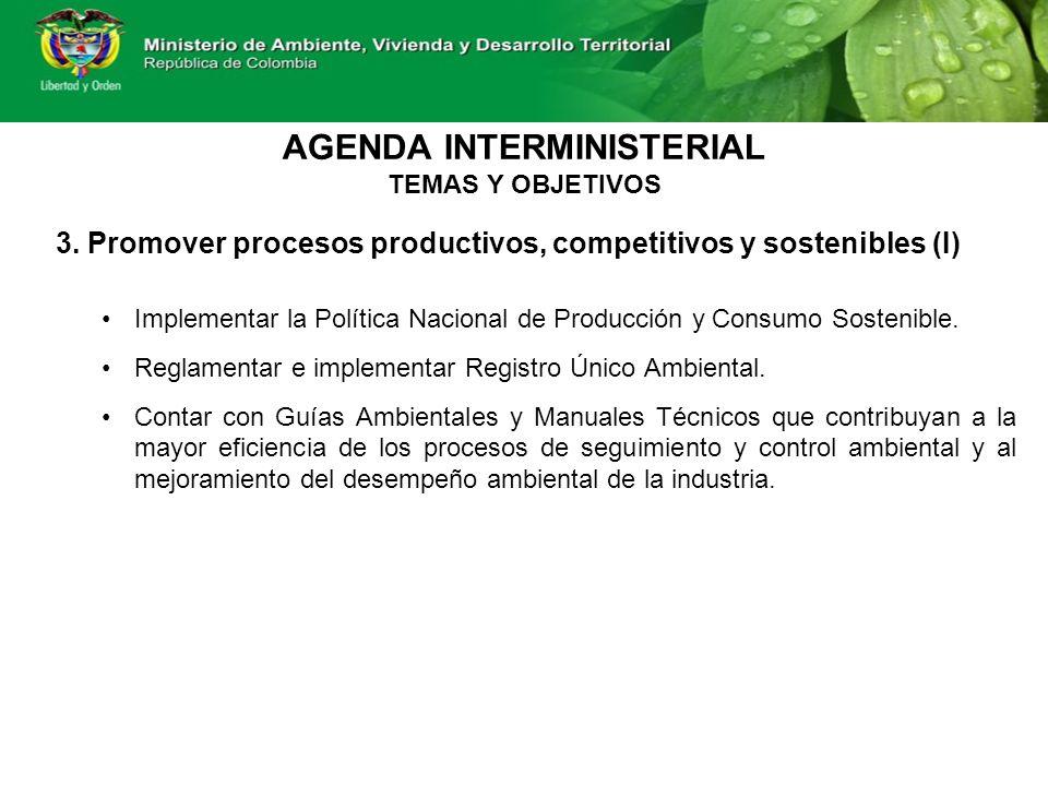 3. Promover procesos productivos, competitivos y sostenibles (I) Implementar la Política Nacional de Producción y Consumo Sostenible. Reglamentar e im