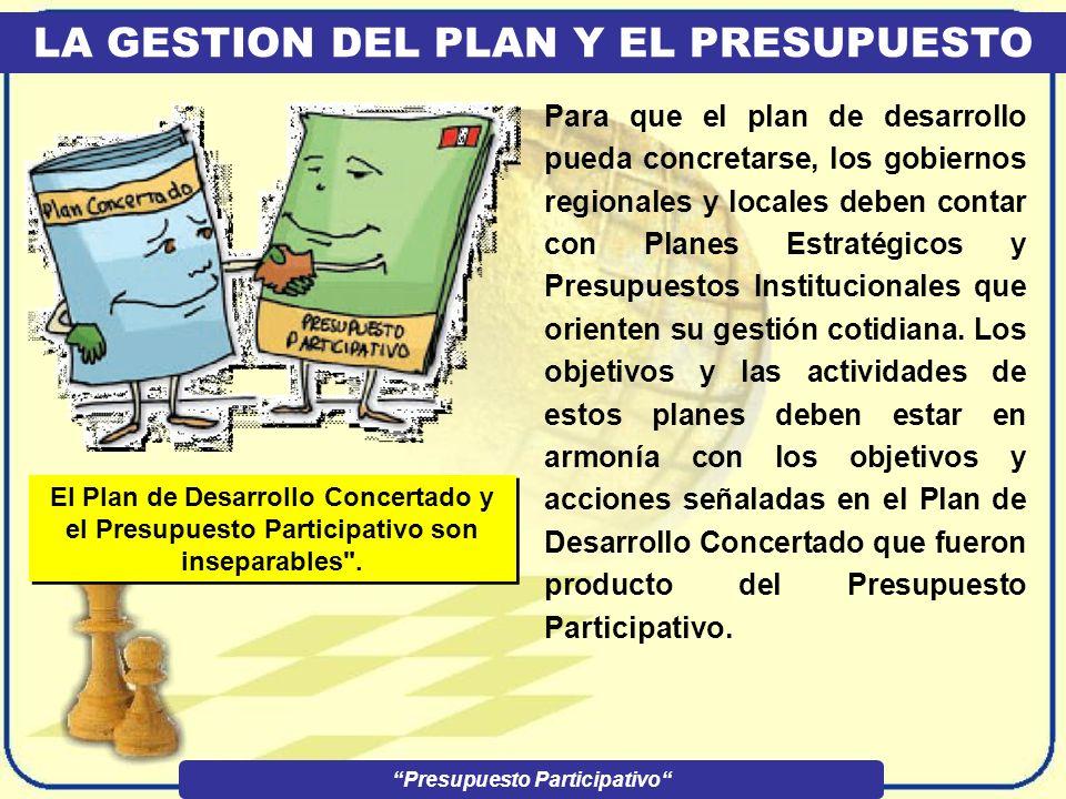 EL PRESUPUESTO PARTICIPATIVO Presupuesto Participativo LAS ACCIONES CONCERTADAS Para que estos proyectos lleguen a ejecutarse, primero deben ser decla