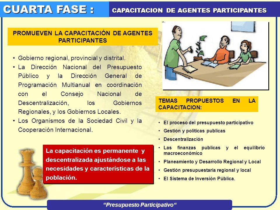 TERCERA FASE : IDENTIFICACION DE AGENTES PARTICIPANTES EL GOBIERNO REGIONAL Y EL MUNICIPIO PROVINCIAL Y DISTRITAL 1 1 2 2 REGISTRA A LOS PARTICIPANTES