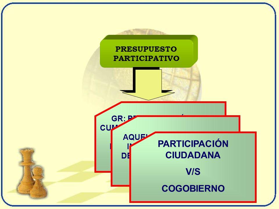 PRESUPUESTO PARTICIPATIVO GR: PREOCUPACIÓN POR CUMPLIR SUS COMPETENCIAS, ESTO ES EJECUTAR PROYECTOS DE ALCANCE REGIONAL AQUELLOS DE APOYO A LA INFRAESTRUCTURA O AL DESARROLLO PRODUCTIVO REGIONAL PARTICIPACIÓN CIUDADANA V/S COGOBIERNO