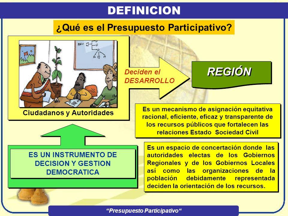 Ciudadanos y Autoridades DEFINICION Presupuesto Participativo ¿Qué es el Presupuesto Participativo.