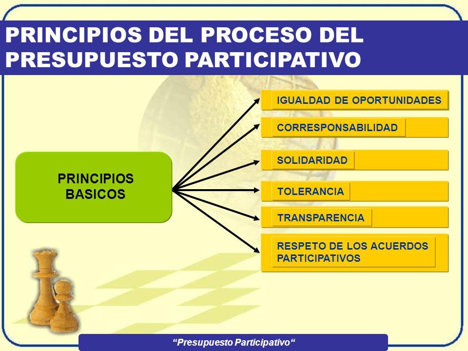 PRINCIPIOS DEL PROCESO DEL PRESUPUESTO PARTICIPATIVO IGUALDAD DE OPORTUNIDADESCORRESPONSABILIDAD RESPETO DE LOS ACUERDOS PARTICIPATIVOS TOLERANCIA TRANSPARENCIA SOLIDARIDAD Presupuesto Participativo PRINCIPIOS BASICOS
