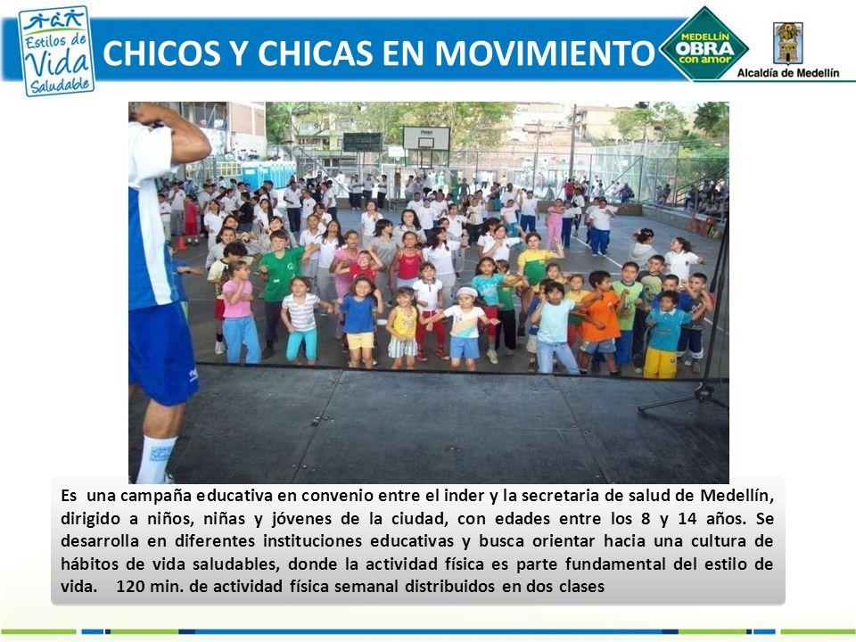 CHICOS Y CHICAS EN MOVIMIENTO Es una campaña educativa en convenio entre el inder y la secretaria de salud de Medellín, dirigido a niños, niñas y jóve