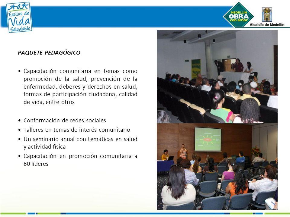 PAQUETE PEDAGÓGICO Capacitación comunitaria en temas como promoción de la salud, prevención de la enfermedad, deberes y derechos en salud, formas de p