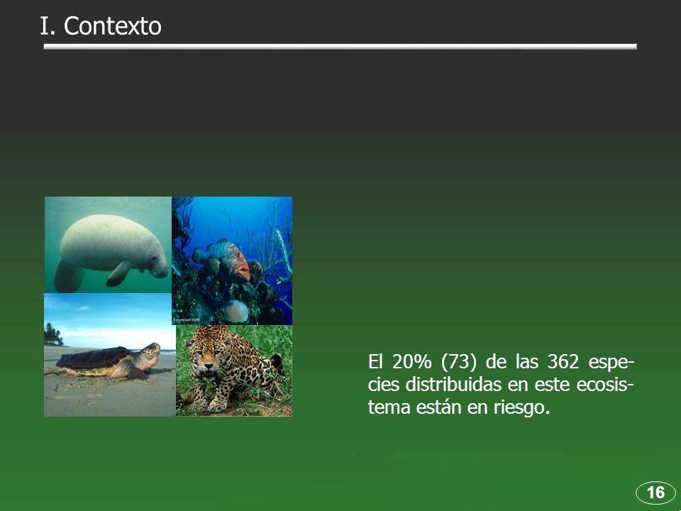 El 20% (73) de las 362 espe- cies distribuidas en este ecosis- tema están en riesgo. 16 I. Contexto
