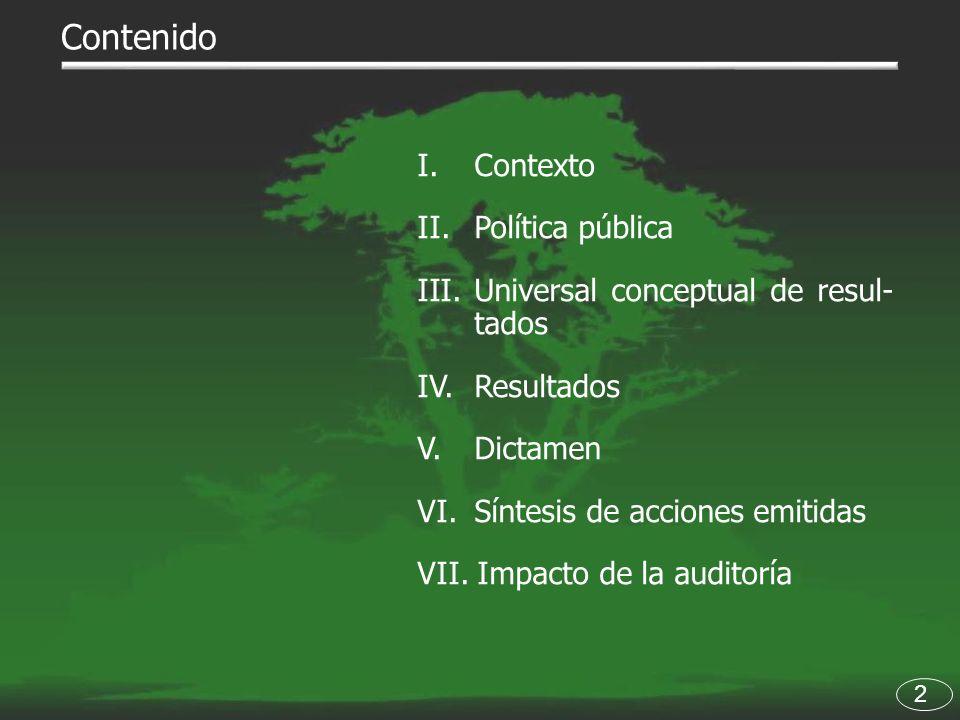 Contenido I. Contexto II.Política pública III.Universal conceptual de resul- tados IV. Resultados V. Dictamen VI.Síntesis de acciones emitidas VII. Im