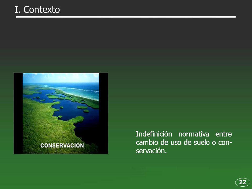 Indefinición normativa entre cambio de uso de suelo o con- servación. 22 I. Contexto