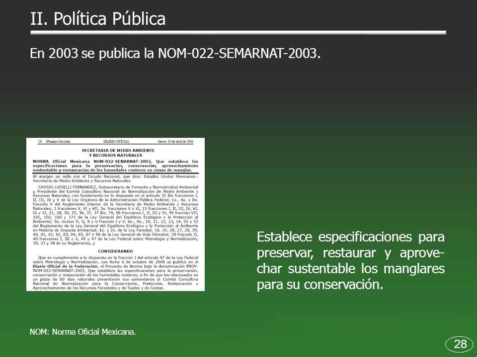 28 En 2003 se publica la NOM-022-SEMARNAT-2003. Establece especificaciones para preservar, restaurar y aprove- char sustentable los manglares para su