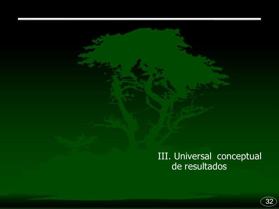 III. Universal conceptual de resultados 32