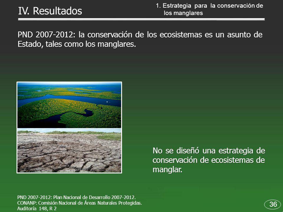 36 PND 2007-2012: la conservación de los ecosistemas es un asunto de Estado, tales como los manglares. No se diseñó una estrategia de conservación de