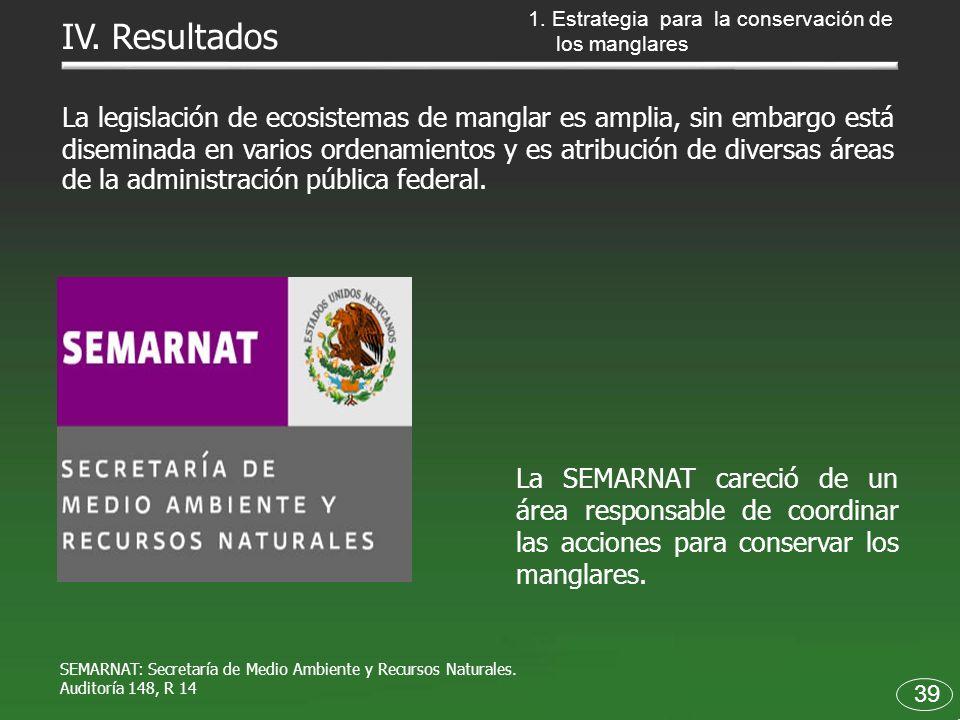 La SEMARNAT careció de un área responsable de coordinar las acciones para conservar los manglares. 39 IV. Resultados La legislación de ecosistemas de